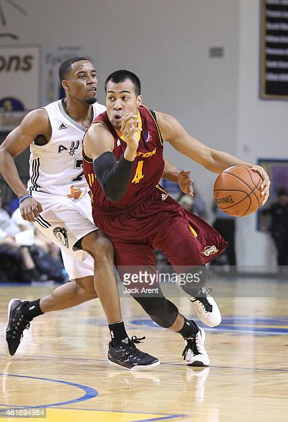 Chris Crawford of the Canton Charge dribbles the ball against the Austin Spurs during the 2015 NBA DLeague Showcase presented by SAMSUNG on January...