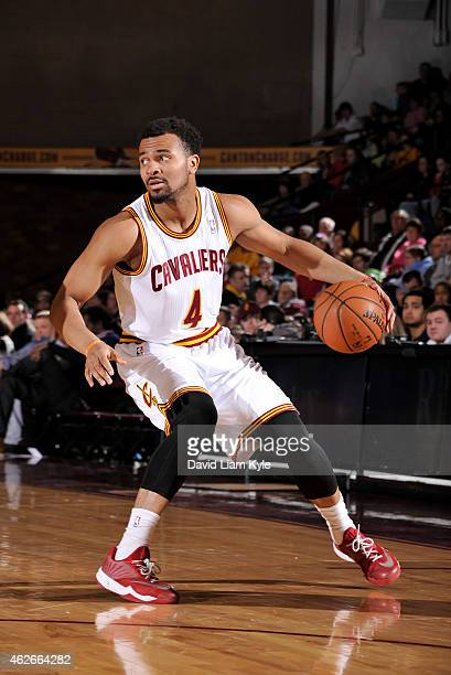 Chris Crawford of the Canton Charge dribbles the ball against the Erie BayHawks at the Canton Memorial Civic Center on January 31 2015 in Canton Ohio...
