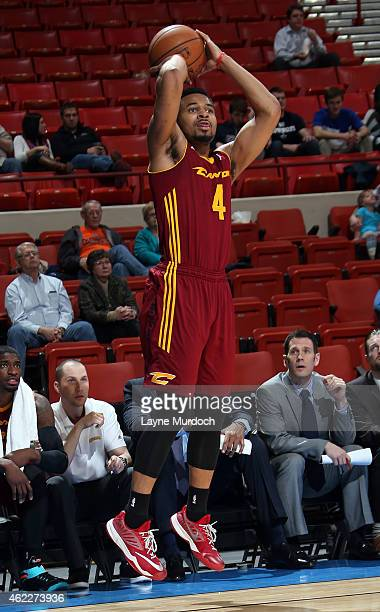 Chris Crawford of the Canton Charge shoots the ball against the Oklahoma City Blue during an NBA DLeague game on January 23 2015 at the Cox...