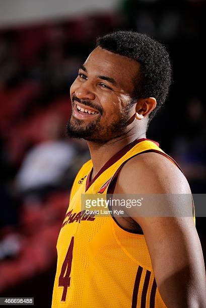 Chris Crawford of the Canton Charge smiles wide during a break in the action against the Westchester Knicks at the Canton Memorial Civic Center on...