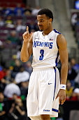 Chris Crawford of the Memphis Tigers reacts in the second half against the St Mary's Gaels during the second round of the 2013 NCAA Men's Basketball...