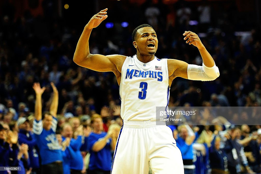 Chris Crawford #3 of the Memphis Tigers reacts to a score during a game against the Louisville Cardinals at FedExForum on December 15, 2012 in Memphis, Tennessee.