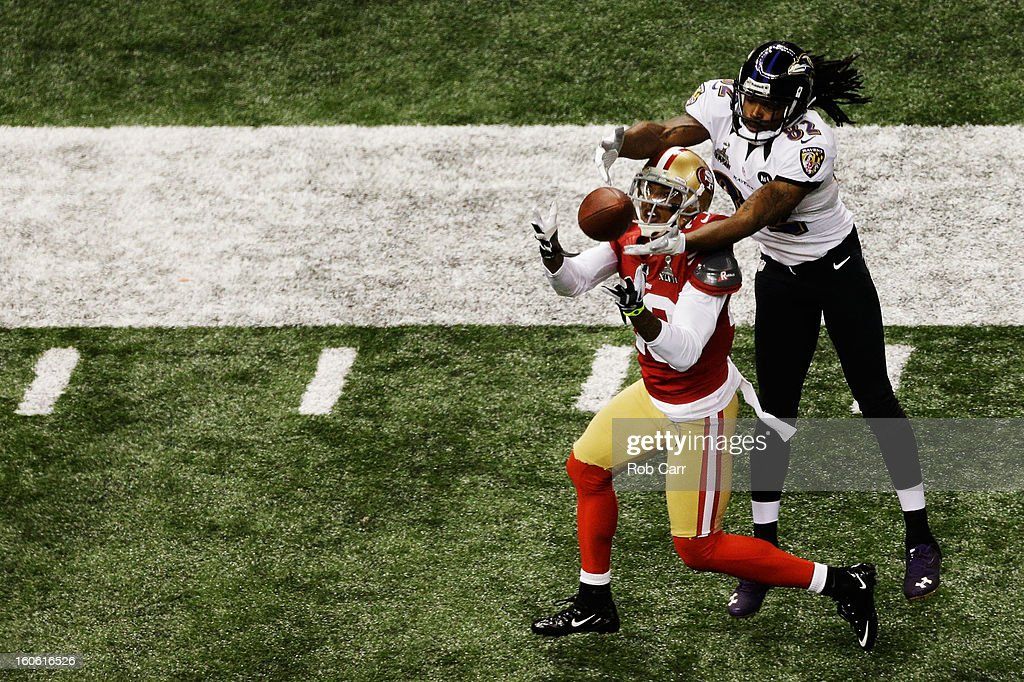 Chris Culliver #29 of the San Francisco 49ers breaks up a pass intended for Torrey Smith #82 of the Baltimore Ravens in the first half during Super Bowl XLVII at the Mercedes-Benz Superdome on February 3, 2013 in New Orleans, Louisiana.