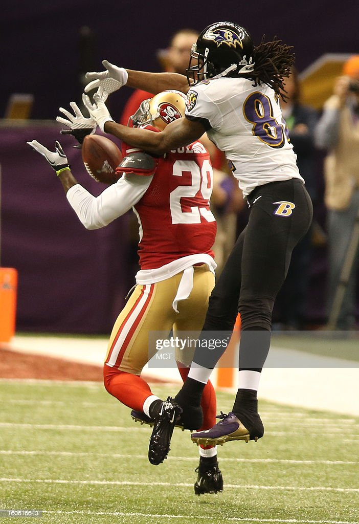 Chris Culliver (29) of the San Francisco 49ers breaks up a pass to Torrey Smith (82) of the Baltimore Ravens in the first half of Super Bowl XLVII at the Mercedes-Benz Superdome in New Orleans, Louisiana, Sunday, February 3, 2013.