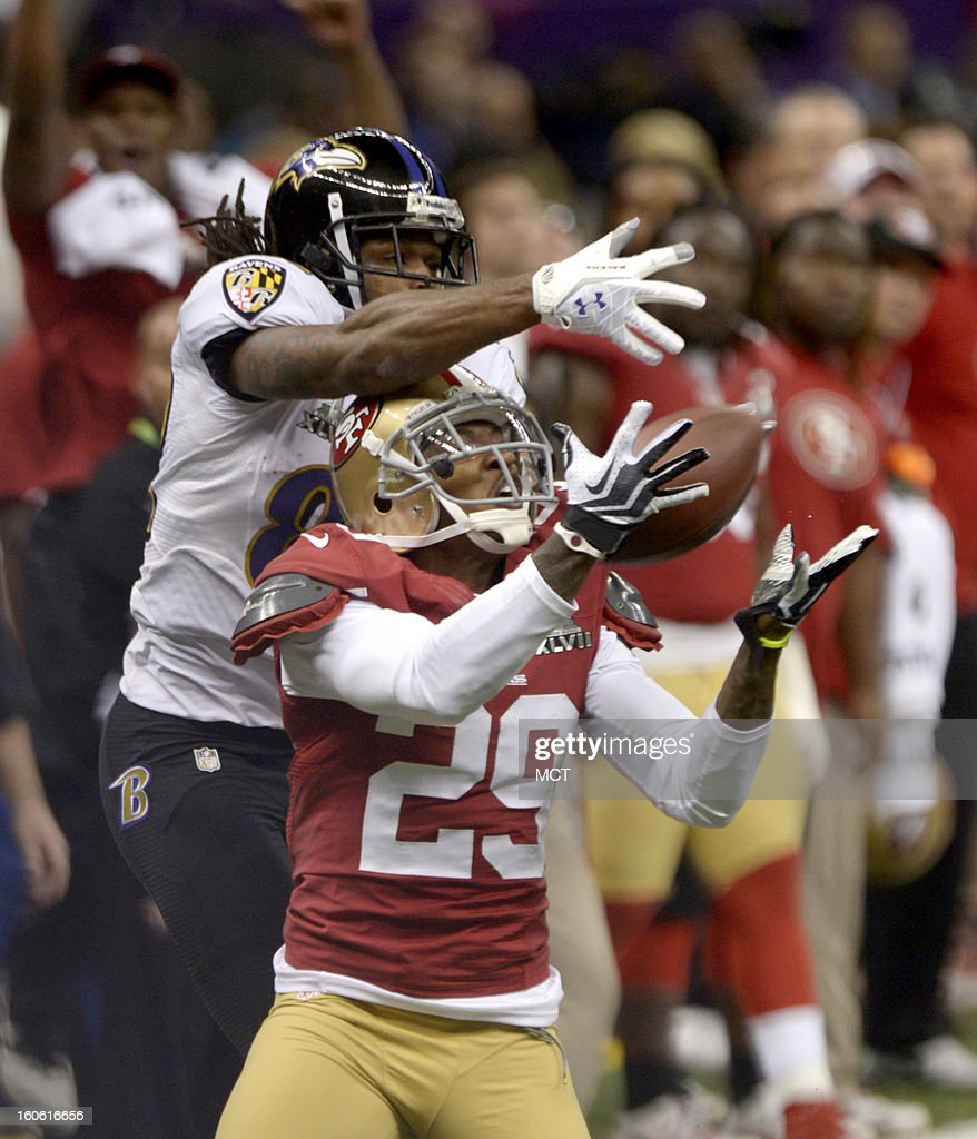 Chris Culliver (29) of the San Francisco 49ers tries to intercept a ball intended for Anquan Boldin (81) of the Baltimore Ravens in the first half of Super Bowl XLVII at the Mercedes-Benz Superdome in New Orleans, Louisiana, Sunday, February 3, 2013.