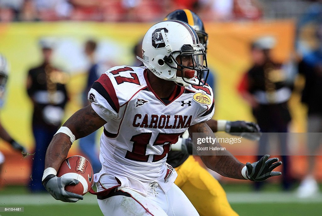 Chris Culliver #17 of the South Carolina Gamecocks runs upfield against the Iowa Hawkeyes during the Outback Bowl on January 1, 2009 at Raymond James Stadium in Tampa, Florida.