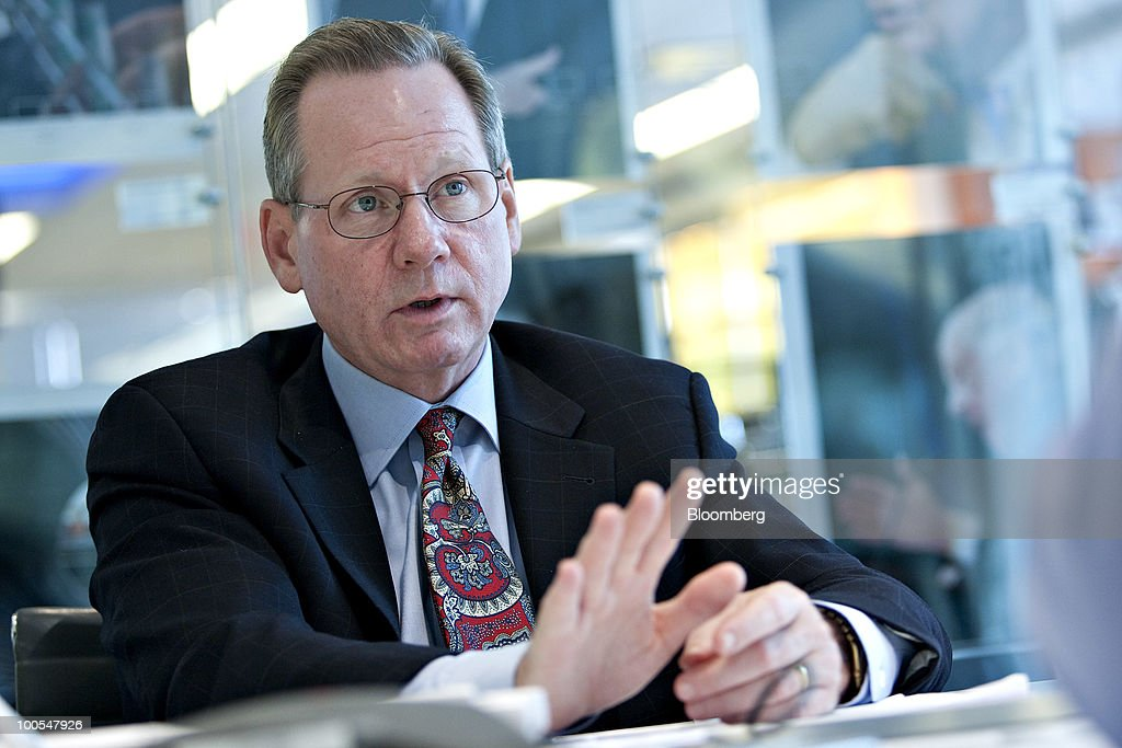 Chris Curtis, chief executive officer for Schneider Electric's North America unit, speaks during an interview in New York, U.S., on Tuesday, May 25, 2010. Schneider Electric SA, the world's biggest maker of circuit breakers, will triple revenue for projects related to the U.S. stimulus this year as government funds become more accessible, an executive said. Photographer: Daniel Acker/Bloomberg via Getty Images
