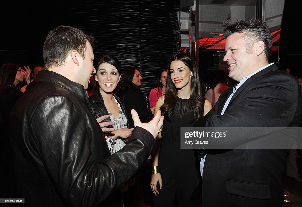 Chris Curtis, Shenae Grimes, Jessica Lowndes and Ron Fleischman attend the Beck's Sapphire Launch Event on January 17, 2013 in Beverly Hills, California.