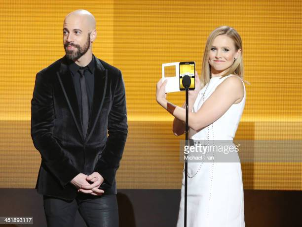 Chris Daughtry and Kristen Bell speak onstage at the 2013 American Music Awards held at Nokia Theatre LA Live on November 24 2013 in Los Angeles...