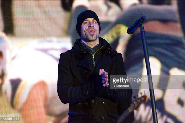 Chris Daughtry performs on stage during the Super Bowl Kickoff Spectacular at Liberty State Park on January 27 2014 in Jersey City New Jersey