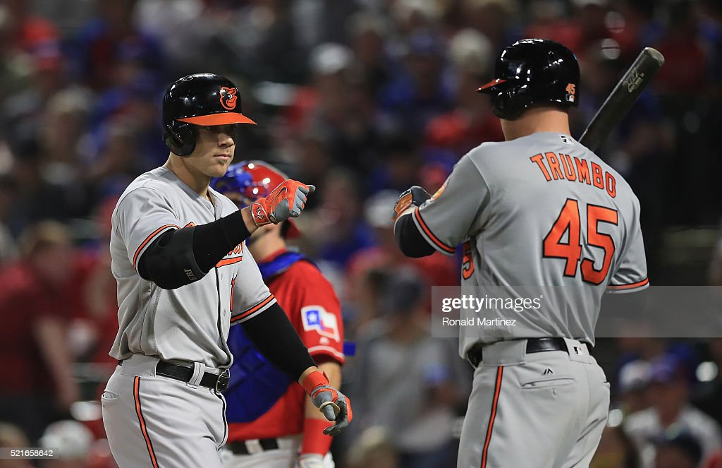 <a gi-track='captionPersonalityLinkClicked' href=/galleries/search?phrase=Chris+Davis+-+Baseball+-+Texas+Rangers&family=editorial&specificpeople=7129264 ng-click='$event.stopPropagation()'>Chris Davis</a> #19 of the Baltimore Orioles celebrates his homerun with <a gi-track='captionPersonalityLinkClicked' href=/galleries/search?phrase=Mark+Trumbo&family=editorial&specificpeople=4921667 ng-click='$event.stopPropagation()'>Mark Trumbo</a> #45 in the fifth inning against the Texas Rangers at Globe Life Park in Arlington on April 16, 2016 in Arlington, Texas.