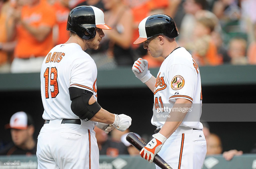 <a gi-track='captionPersonalityLinkClicked' href=/galleries/search?phrase=Chris+Davis+-+Baseball+-+Texas+Rangers&family=editorial&specificpeople=7129264 ng-click='$event.stopPropagation()'>Chris Davis</a> #19 of the Baltimore Orioles celebrates with <a gi-track='captionPersonalityLinkClicked' href=/galleries/search?phrase=Chris+Parmelee&family=editorial&specificpeople=713101 ng-click='$event.stopPropagation()'>Chris Parmelee</a> #41 after hitting a home run against the Texas Rangers at Oriole Park at Camden Yards on June 30, 2015 in Baltimore, Maryland.