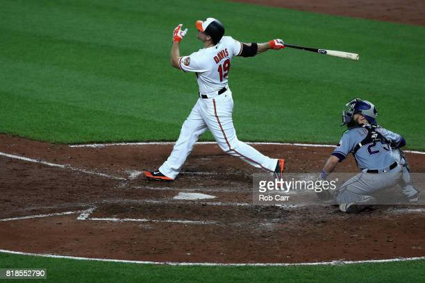 Chris Davis of the Baltimore Orioles follows his fourth inning grand slam as catcher Jonathan Lucroy of the Texas Rangers looks on at Oriole Park at...