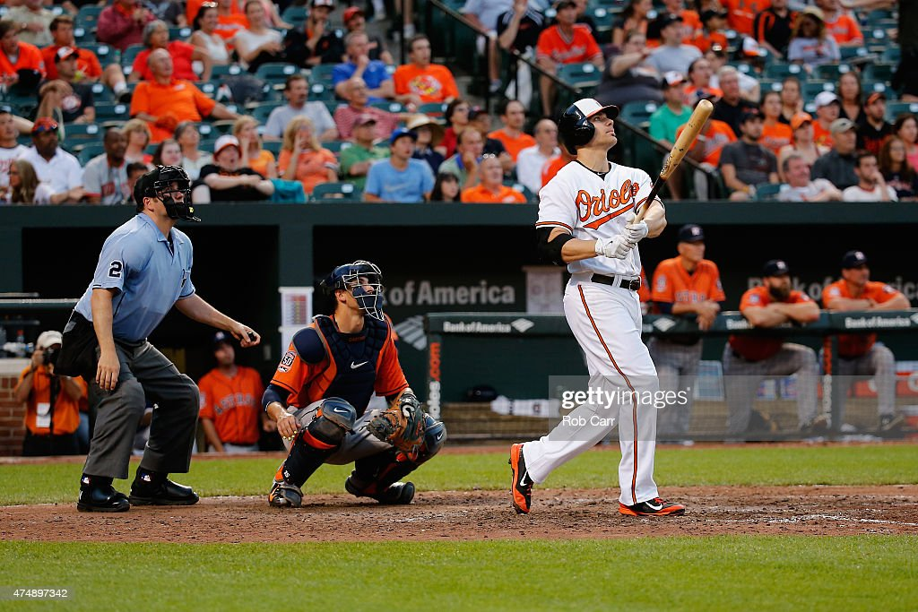 <a gi-track='captionPersonalityLinkClicked' href=/galleries/search?phrase=Chris+Davis+-+Baseball+Player&family=editorial&specificpeople=7129264 ng-click='$event.stopPropagation()'>Chris Davis</a> #19 of the Baltimore Orioles follows his solo home run as catcher <a gi-track='captionPersonalityLinkClicked' href=/galleries/search?phrase=Jason+Castro+-+Baseball+Player&family=editorial&specificpeople=7443916 ng-click='$event.stopPropagation()'>Jason Castro</a> #15 of the Houston Astros and home plate umpire Dan Bellino look on during the eighth inning of the Orioles 5-4 win at Oriole Park at Camden Yards on May 27, 2015 in Baltimore, Maryland.