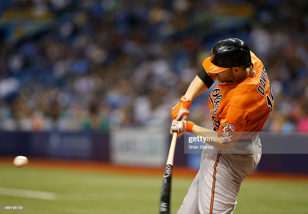 <a gi-track='captionPersonalityLinkClicked' href=/galleries/search?phrase=Chris+Davis+-+Baseball+Player&family=editorial&specificpeople=7129264 ng-click='$event.stopPropagation()'>Chris Davis</a> #19 of the Baltimore Orioles hits a double off of pitcher Erasmo Ramirez #30 of the Tampa Bay Rays during the sixth inning of a game on September 19, 2015 at Tropicana Field in St. Petersburg, Florida.