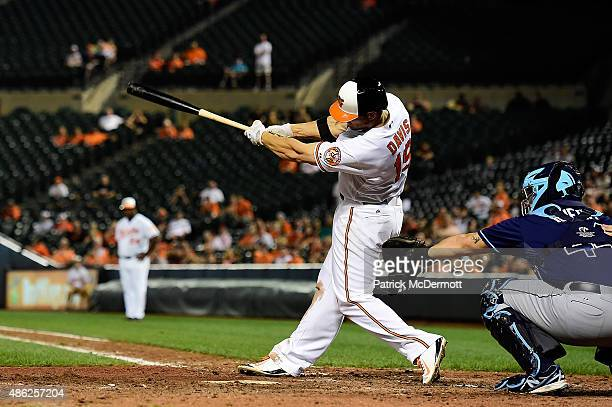 Chris Davis of the Baltimore Orioles hits a game winning home run in the eleventh inning during a baseball game against the Tampa Bay Rays at Oriole...