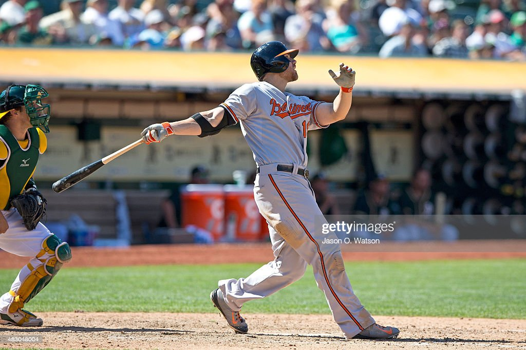 <a gi-track='captionPersonalityLinkClicked' href=/galleries/search?phrase=Chris+Davis+-+Baseball&family=editorial&specificpeople=7129264 ng-click='$event.stopPropagation()'>Chris Davis</a> #19 of the Baltimore Orioles hits a grand slam home run against the Oakland Athletics during the tenth inning at O.co Coliseum on August 5, 2015 in Oakland, California. The Baltimore Orioles defeated the Oakland Athletics 7-3 in 10 innings.