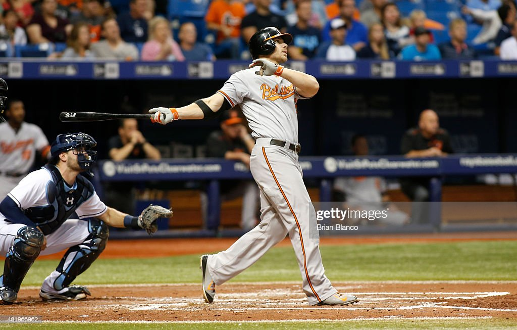 <a gi-track='captionPersonalityLinkClicked' href=/galleries/search?phrase=Chris+Davis+-+Baseball+Player&family=editorial&specificpeople=7129264 ng-click='$event.stopPropagation()'>Chris Davis</a> #19 of the Baltimore Orioles hits a grand slam in front of catcher Curt Casali #19 of the Tampa Bay Rays during the third inning of a game on July 25, 2015 at Tropicana Field in St. Petersburg, Florida.