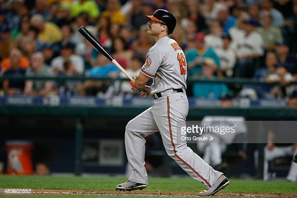 Chris Davis of the Baltimore Orioles hits a solo home run against the Seattle Mariners in the sixth inning at Safeco Field on August 10 2015 in...