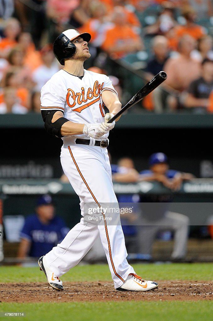 <a gi-track='captionPersonalityLinkClicked' href=/galleries/search?phrase=Chris+Davis+-+Baseball+-+Texas+Rangers&family=editorial&specificpeople=7129264 ng-click='$event.stopPropagation()'>Chris Davis</a> #19 of the Baltimore Orioles hits a two-run home run in the third inning against the Texas Rangers at Oriole Park at Camden Yards on June 30, 2015 in Baltimore, Maryland.