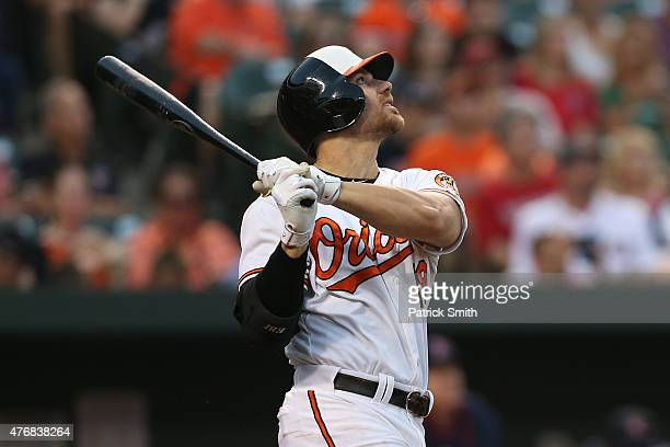 Chris Davis of the Baltimore Orioles hits against the Boston Red Sox at Oriole Park at Camden Yards on June 10 2015 in Baltimore Maryland The...
