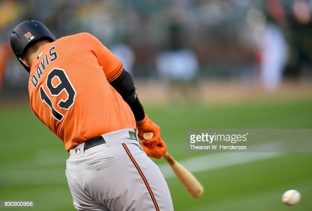 Chris Davis of the Baltimore Orioles hits an rbi single scoring Trey Mancini against the Oakland Athletics in the top of the first inning at Oakland...