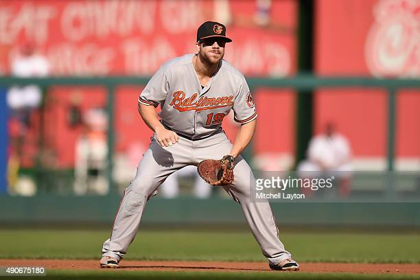 Chris Davis of the Baltimore Orioles in position during a baseball game against the Baltimore Orioles at Nationals Park on September 24 2015 in...