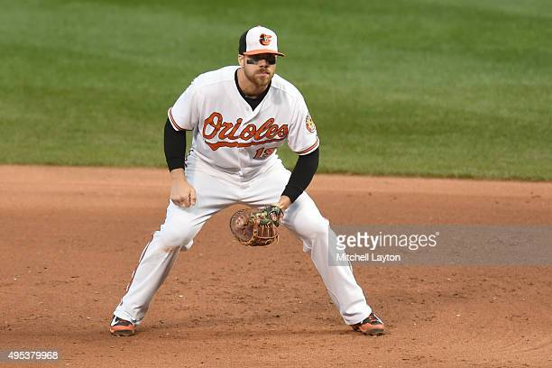 Chris Davis of the Baltimore Orioles in position during a baseball game against the New York Yankees at Oriole Park at Camden Yards on October 4 2015...
