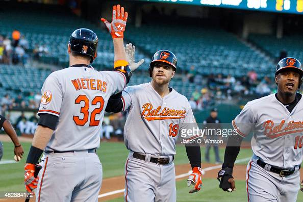 Chris Davis of the Baltimore Orioles is congratulated by Matt Wieters after hitting a three run home run against the Oakland Athletics during the...