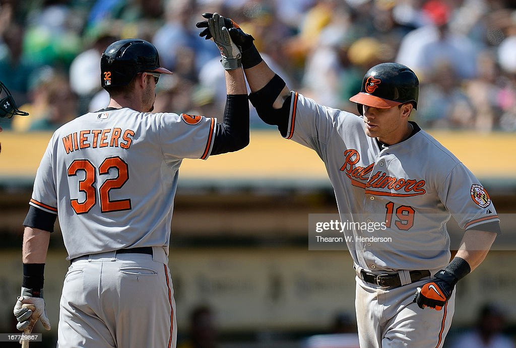 Chris Davis #19 of the Baltimore Orioles is congratulates by Matt Wieters #32 after Davis hit a solo home run the that put the Orioles ahead of the Oakland Athletics 7-6 in the eighth inning at O.co Coliseum on April 28, 2013 in Oakland, California.