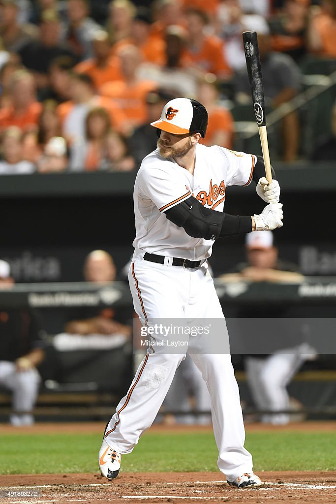 <a gi-track='captionPersonalityLinkClicked' href=/galleries/search?phrase=Chris+Davis+-+Baseball+Player&family=editorial&specificpeople=7129264 ng-click='$event.stopPropagation()'>Chris Davis</a> #19 of the Baltimore Orioles prepares for a pitch during a baseball game against the Toronto Blue Jays at Oriole Park at Camden Yards on September 28, 2015 in Baltimore, Maryland. The Blue Jays won 4-3.