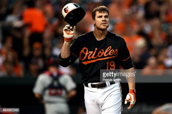 Chris Davis of the Baltimore Orioles reacts after striking out in the second inning against the Minnesota Twins at Oriole Park at Camden Yards on...