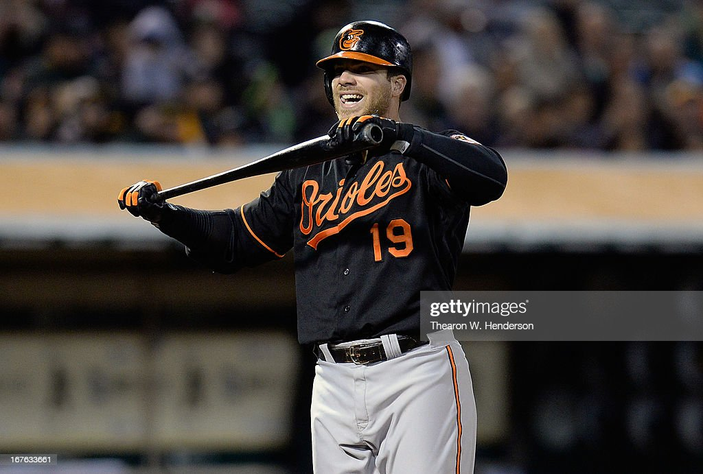Chris Davis #19 of the Baltimore Orioles reacts after striking out against the Oakland Athletics in the eighth inning at O.co Coliseum on April 26, 2013 in Oakland, California.