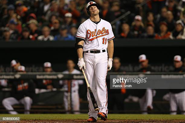 Chris Davis of the Baltimore Orioles reacts after striking out against the New York Yankees at Oriole Park at Camden Yards on May 5 2016 in Baltimore...