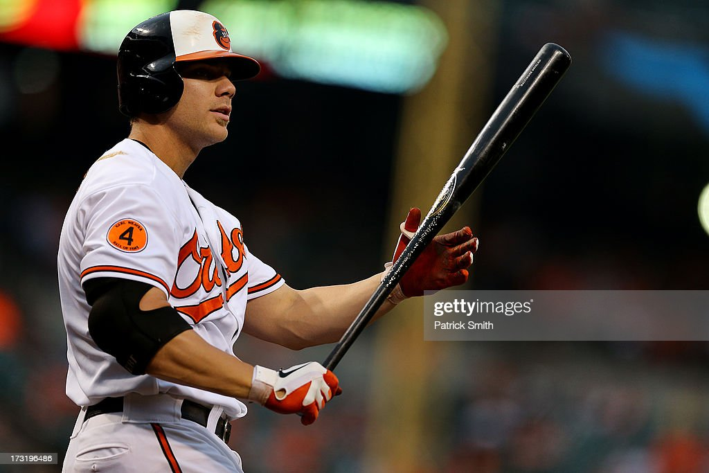 Chris Davis #19 of the Baltimore Orioles reacts after taking a strike in the fifth inning against the Texas Rangers at Oriole Park at Camden Yards on July 9, 2013 in Baltimore, Maryland. The Texas Rangers won, 8-4.