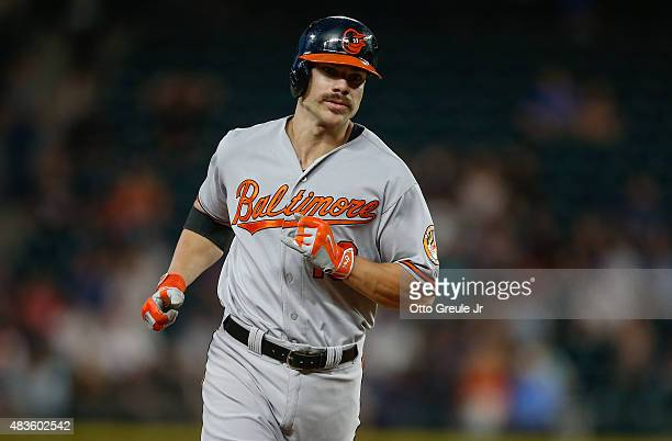 Chris Davis of the Baltimore Orioles rounds the bases after hitting a solo home run against the Seattle Mariners in the sixth inning at Safeco Field...