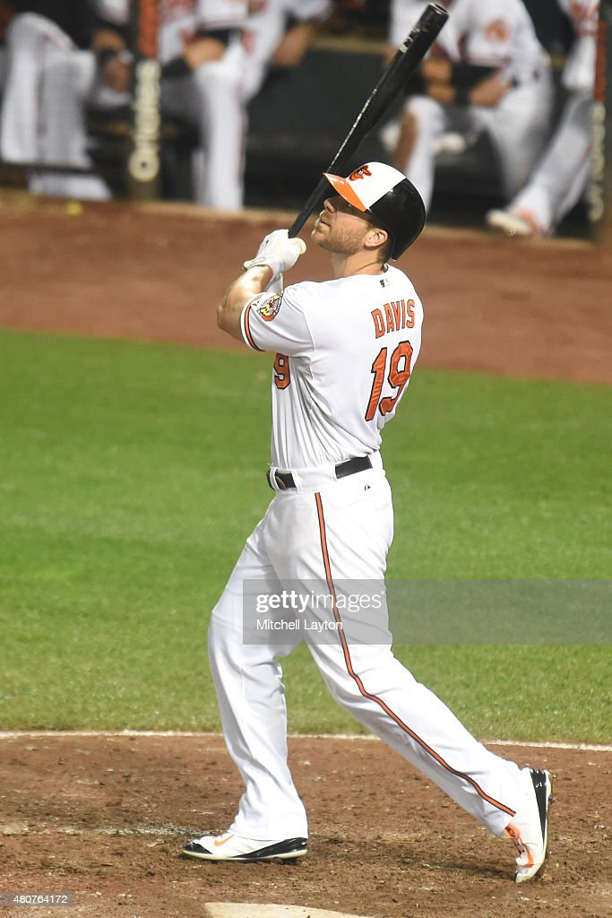 <a gi-track='captionPersonalityLinkClicked' href=/galleries/search?phrase=Chris+Davis+-+Baseball+-+Texas+Rangers&family=editorial&specificpeople=7129264 ng-click='$event.stopPropagation()'>Chris Davis</a> #19 of the Baltimore Orioles takes a swing during game a baseball game against the Texas Rangers at Oriole Park at Camden Yards on July 02, 2015 in Baltimore, Maryland. The Rangers won 2-0.