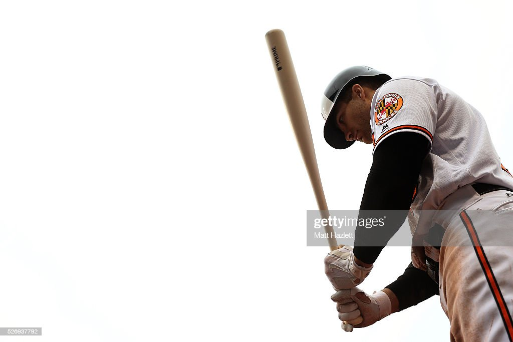 Chris Davis #19 of the Baltimore Orioles waits in the on deck circle during a game against the Chicago White Sox at Oriole Park at Camden Yards on May 1, 2016 in Baltimore, Maryland.
