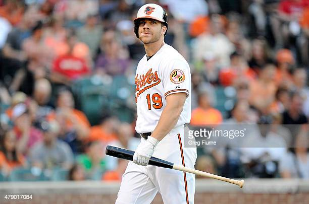 Chris Davis of the Baltimore Orioles walks to the dugout after striking out in the second inning against the Texas Rangers at Oriole Park at Camden...