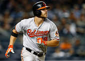 Chris Davis of the Baltimore Orioles watches as he hits an RBI ground rule double in the ninth inning against the New York Yankees in a MLB baseball...