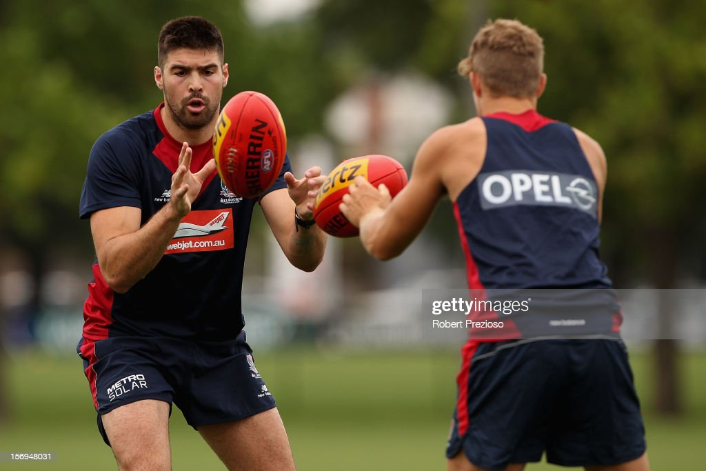 Chris Dawes gathers the ball on during a Melbourne Demons AFL pre-season training session at Gosch's Paddock on November 26, 2012 in Melbourne, Australia.