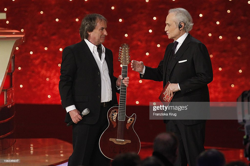Chris de Burgh and Jose Carreras perform during the 18th Annual Jose Carreras Gala on December 13 2012 in Leipzig Germany