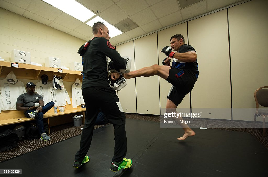 Chris De La Rocha warms up backstage during the UFC Fight Night Event inside the Mandalay Bay Events Center on May 29, 2016 in Las Vegas Nevada.