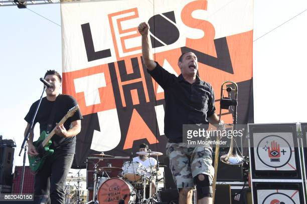Chris DeMakes and Buddy Schaub of Less than Jake perform during the Punk In Drublic Craft Beer And Music Festival at California Exposition on October...
