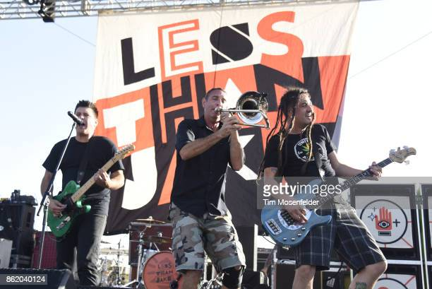 Chris DeMakes Buddy Schaub and Roger Lima of Less than Jake perform during the Punk In Drublic Craft Beer And Music Festival at California Exposition...