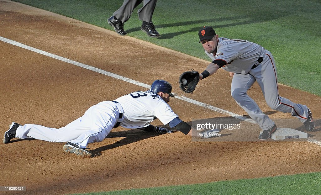 <a gi-track='captionPersonalityLinkClicked' href=/galleries/search?phrase=Chris+Denorfia&family=editorial&specificpeople=702417 ng-click='$event.stopPropagation()'>Chris Denorfia</a> #13 of the San Diego Padres gets back to first base ahead of the tag of <a gi-track='captionPersonalityLinkClicked' href=/galleries/search?phrase=Aubrey+Huff&family=editorial&specificpeople=208964 ng-click='$event.stopPropagation()'>Aubrey Huff</a> #17 of the San Francisco Giants during the third inning of a baseball game at Petco Park on July 16, 2011 in San Diego, California.