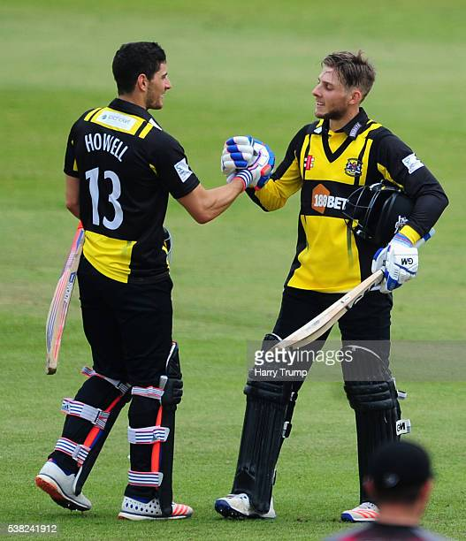 Chris Dent of Gloucestershire celebrates afer reaching his century during the Royal London One Day Cup match between Somerset and Gloucestershire at...