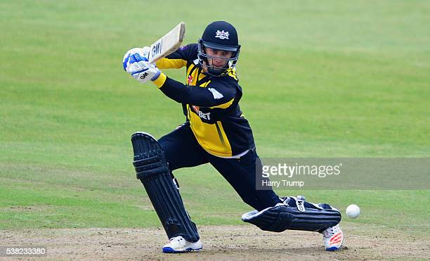 Chris Dent of Gloucestershire cuts the ball during the Royal London One Day Cup match between Somerset and Gloucestershire at The County Ground on...