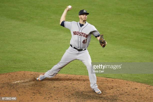 Chris Devenski of the Houston Astros and the American League throws a pitch in the eighth inning against the National League during the 88th MLB...