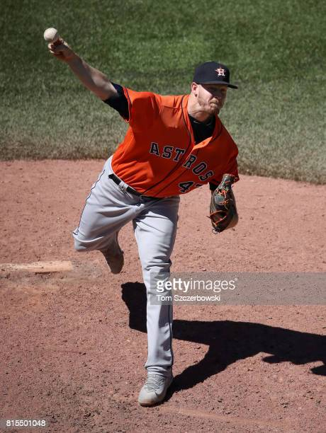Chris Devenski of the Houston Astros delivers a pitch in the seventh inning during MLB game action against the Toronto Blue Jays at Rogers Centre on...